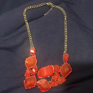 Ladies Gold and Red Statement Necklace